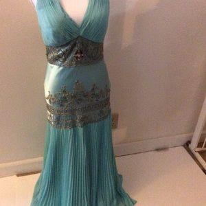 NWOT Sue Wong Nocturne Blue Halter Gown